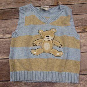 Lullaby Club Blue Tan Sweater Vest Teddy Bear Size